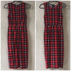 San Souci Red Plaid Sheath Dress